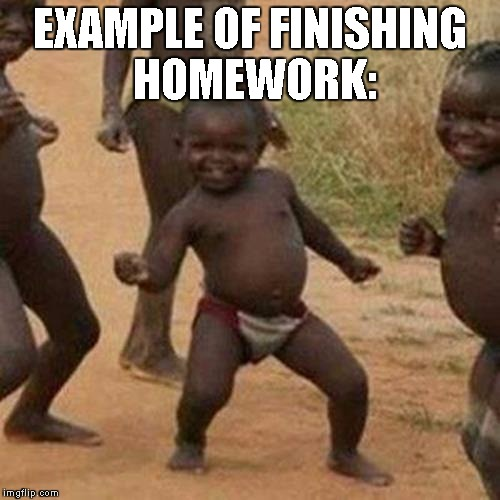 Third World Success Kid | EXAMPLE OF FINISHING HOMEWORK: | image tagged in memes,third world success kid | made w/ Imgflip meme maker