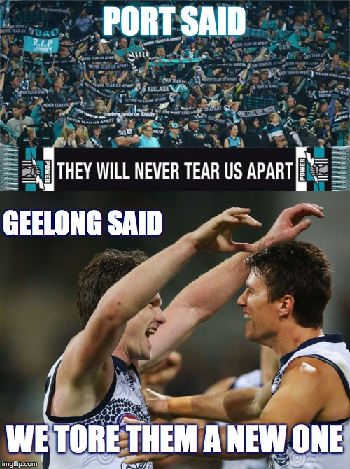 Port: Never Tear Them Apart | Geelong Tore Them a New One |  PORT SAID; GEELONG SAID; WE TORE THEM A NEW ONE | image tagged in afl,geelong cats,port adelaide,memes | made w/ Imgflip meme maker