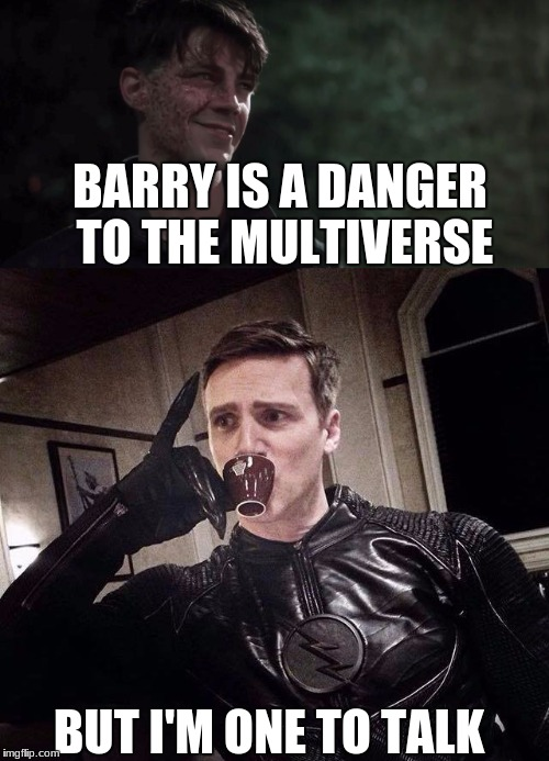 Fast Hypocrisy |  BARRY IS A DANGER TO THE MULTIVERSE; BUT I'M ONE TO TALK | image tagged in zoom,savitar,the flash,barry,dc,cw | made w/ Imgflip meme maker
