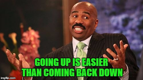 Steve Harvey Meme | GOING UP IS EASIER THAN COMING BACK DOWN | image tagged in memes,steve harvey | made w/ Imgflip meme maker