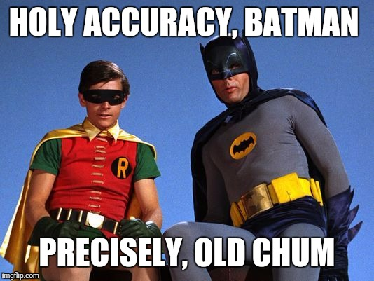 HOLY ACCURACY, BATMAN PRECISELY, OLD CHUM | image tagged in batman robin looking down | made w/ Imgflip meme maker