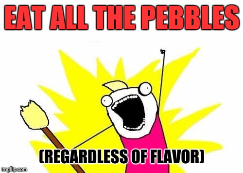 X All The Y Meme | EAT ALL THE PEBBLES (REGARDLESS OF FLAVOR) | image tagged in memes,x all the y | made w/ Imgflip meme maker