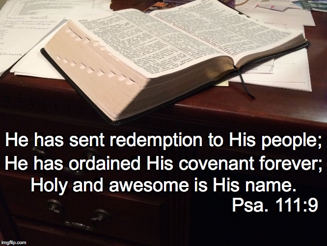 He has sent redemption to His people; He has ordained His covenant forever; Holy and awesome is His name. Psa. 111:9 | image tagged in covenant | made w/ Imgflip meme maker