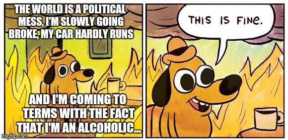 This is fine dog | THE WORLD IS A POLITICAL MESS, I'M SLOWLY GOING BROKE, MY CAR HARDLY RUNS AND I'M COMING TO TERMS WITH THE FACT THAT I'M AN ALCOHOLIC... | image tagged in this is fine dog | made w/ Imgflip meme maker