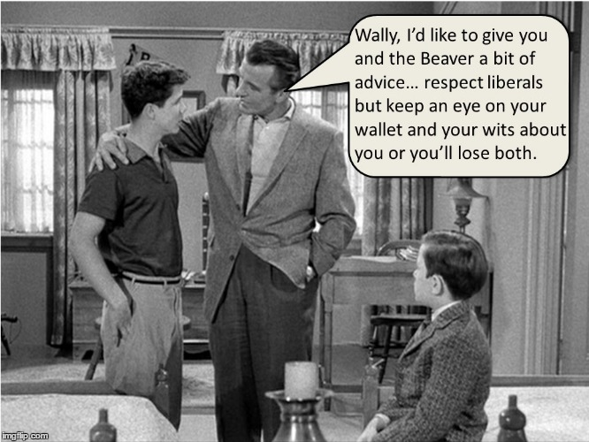 Ward Cleaver gives advice to Wally & the Beaver | image tagged in cleaver family,liberals | made w/ Imgflip meme maker