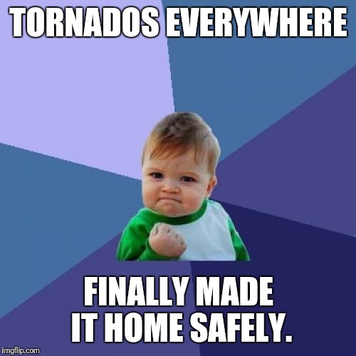 Success Kid Meme | TORNADOS EVERYWHERE FINALLY MADE IT HOME SAFELY. | image tagged in memes,success kid | made w/ Imgflip meme maker