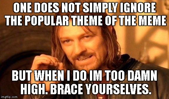 One Does Not Simply Meme | ONE DOES NOT SIMPLY IGNORE THE POPULAR THEME OF THE MEME BUT WHEN I DO IM TOO DAMN HIGH. BRACE YOURSELVES. | image tagged in memes,one does not simply | made w/ Imgflip meme maker