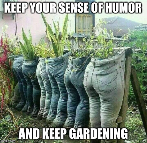 Keep Your... | KEEP YOUR SENSE OF HUMOR AND KEEP GARDENING | image tagged in planter pants,sense of humor,gardening,keep calm | made w/ Imgflip meme maker