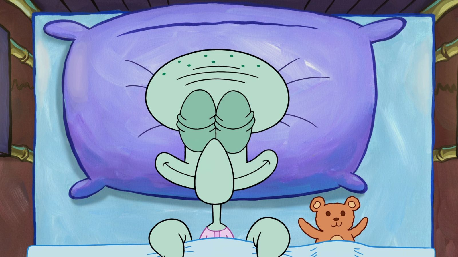 Squidward sleeping meme template