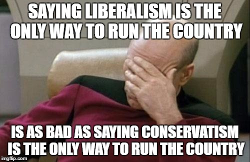 Go Libertarian and support individual freedoms! | SAYING LIBERALISM IS THE ONLY WAY TO RUN THE COUNTRY IS AS BAD AS SAYING CONSERVATISM IS THE ONLY WAY TO RUN THE COUNTRY | image tagged in memes,captain picard facepalm,liberal conservative libertarian | made w/ Imgflip meme maker
