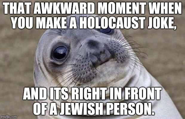 Wouldn't it be mortifying? | THAT AWKWARD MOMENT WHEN YOU MAKE A HOLOCAUST JOKE, AND ITS RIGHT IN FRONT OF A JEWISH PERSON. | image tagged in memes,awkward moment sealion | made w/ Imgflip meme maker