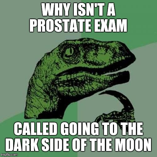 Boldly Go Where No One Has Gone Before! | WHY ISN'T A PROSTATE EXAM CALLED GOING TO THE DARK SIDE OF THE MOON | image tagged in memes,philosoraptor,funny | made w/ Imgflip meme maker