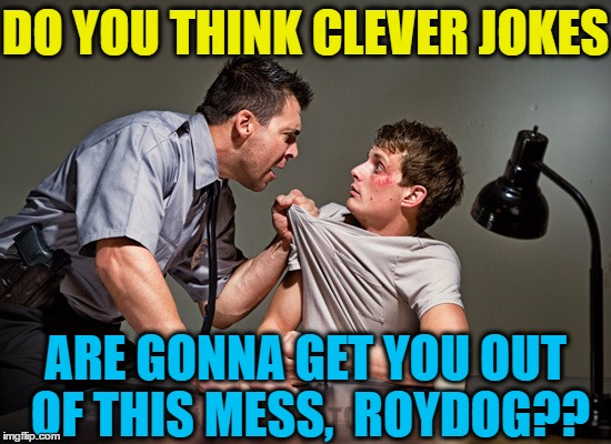 DO YOU THINK CLEVER JOKES ARE GONNA GET YOU OUT OF THIS MESS,  ROYDOG?? | made w/ Imgflip meme maker