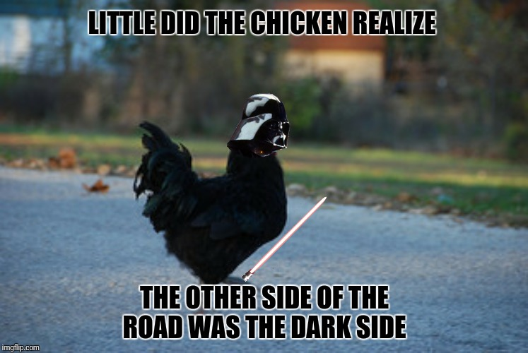 Bad Photoshop Sunday presents:  Why did the chicken cross the road?  To get  to the dark side  | LITTLE DID THE CHICKEN REALIZE THE OTHER SIDE OF THE ROAD WAS THE DARK SIDE | image tagged in chicken crossing road,the dark side,darth vader | made w/ Imgflip meme maker