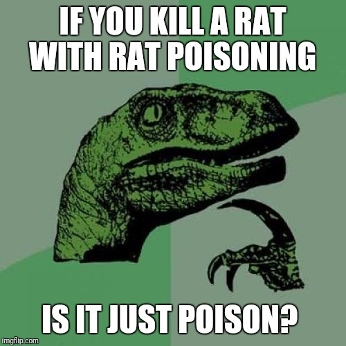 Philosoraptor Meme | IF YOU KILL A RAT WITH RAT POISONING IS IT JUST POISON? | image tagged in memes,philosoraptor | made w/ Imgflip meme maker