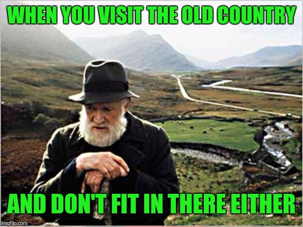 WHEN YOU VISIT THE OLD COUNTRY AND DON'T FIT IN THERE EITHER | made w/ Imgflip meme maker
