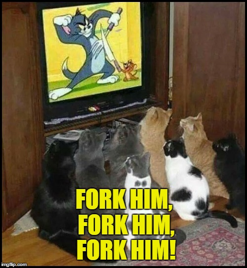 On The Edge of Their Seats! | FORK HIM, FORK HIM, FORK HIM! | image tagged in cats watching tom n jerry,cat humor,don't try this at home | made w/ Imgflip meme maker