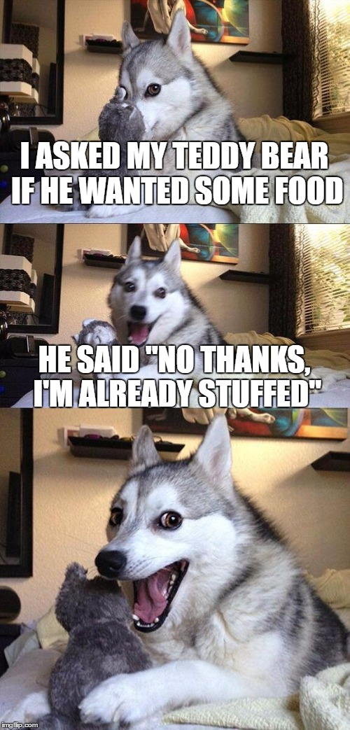 "Bad Pun Dog Meme | I ASKED MY TEDDY BEAR IF HE WANTED SOME FOOD HE SAID ""NO THANKS, I'M ALREADY STUFFED"" 