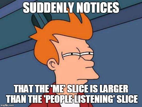 Futurama Fry Meme | SUDDENLY NOTICES THAT THE 'ME' SLICE IS LARGER THAN THE 'PEOPLE LISTENING' SLICE | image tagged in memes,futurama fry | made w/ Imgflip meme maker