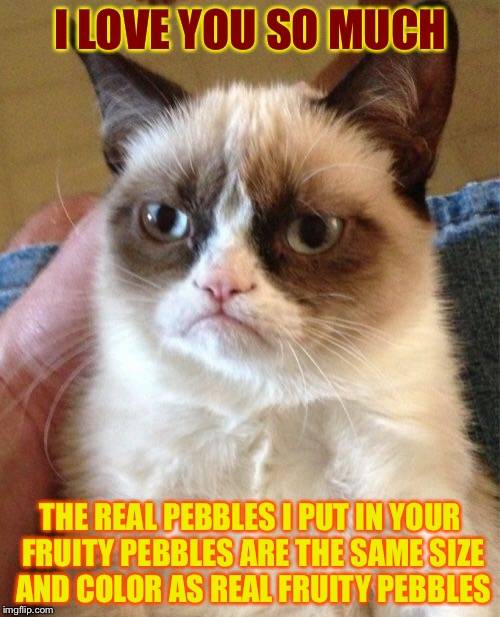 Grumpy Cat Meme | I LOVE YOU SO MUCH THE REAL PEBBLES I PUT IN YOUR FRUITY PEBBLES ARE THE SAME SIZE AND COLOR AS REAL FRUITY PEBBLES | image tagged in memes,grumpy cat | made w/ Imgflip meme maker