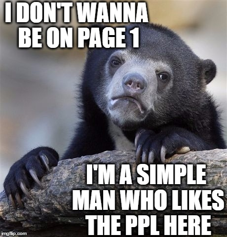 Confession Bear Meme | I DON'T WANNA BE ON PAGE 1 I'M A SIMPLE MAN WHO LIKES THE PPL HERE | image tagged in memes,confession bear | made w/ Imgflip meme maker