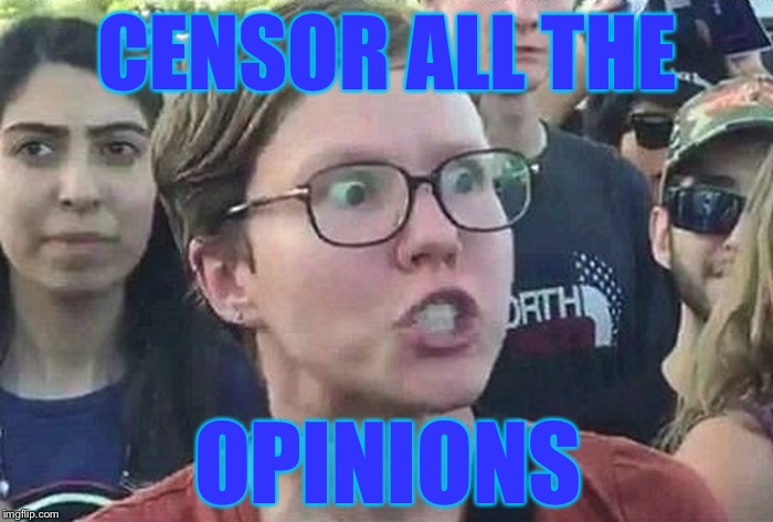 CENSOR ALL THE OPINIONS | made w/ Imgflip meme maker