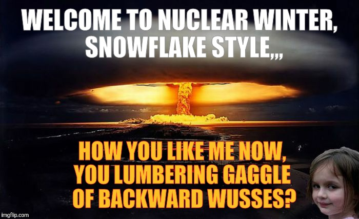 WELCOME TO NUCLEAR WINTER,    SNOWFLAKE STYLE,,, HOW YOU LIKE ME NOW, YOU LUMBERING GAGGLE  OF BACKWARD WUSSES? | image tagged in disaster girl nukes 'em | made w/ Imgflip meme maker