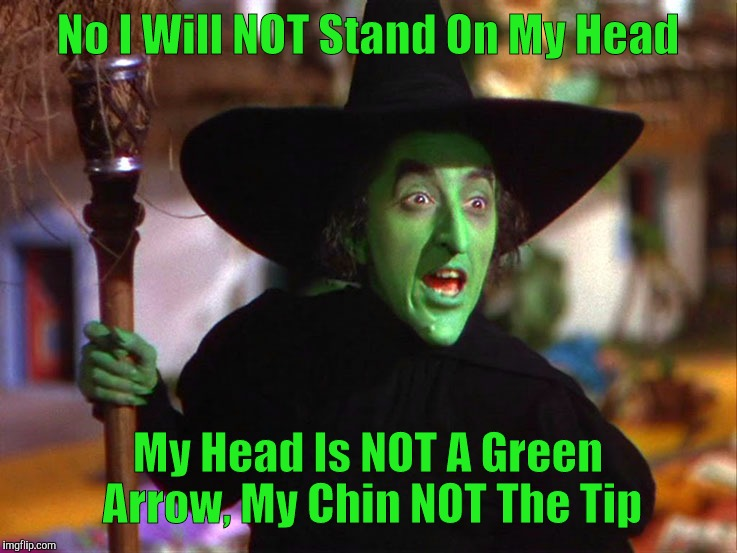 Memes | No I Will NOT Stand On My Head My Head Is NOT A Green Arrow, My Chin NOT The Tip | image tagged in memes | made w/ Imgflip meme maker