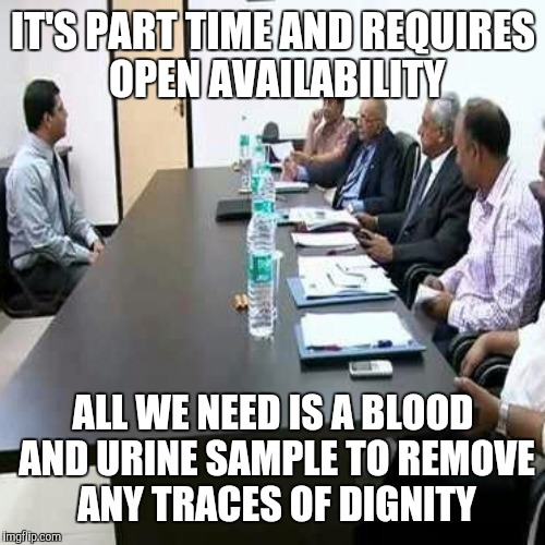 Job interview | IT'S PART TIME AND REQUIRES OPEN AVAILABILITY ALL WE NEED IS A BLOOD AND URINE SAMPLE TO REMOVE ANY TRACES OF DIGNITY | image tagged in job interview | made w/ Imgflip meme maker