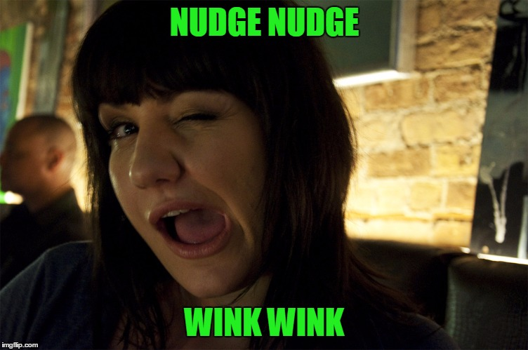 Wink | NUDGE NUDGE WINK WINK | image tagged in wink | made w/ Imgflip meme maker