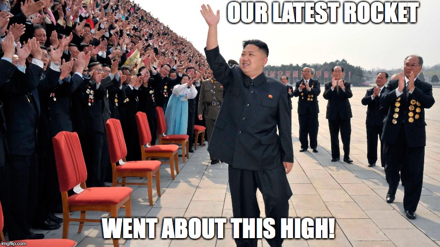 OUR LATEST ROCKET WENT ABOUT THIS HIGH! | image tagged in kim jong un,nuke,rocket | made w/ Imgflip meme maker