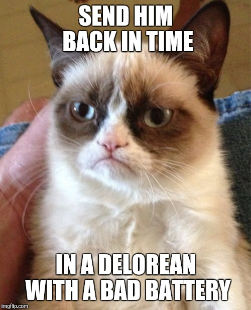 Grumpy Cat Meme | SEND HIM BACK IN TIME IN A DELOREAN WITH A BAD BATTERY | image tagged in memes,grumpy cat | made w/ Imgflip meme maker