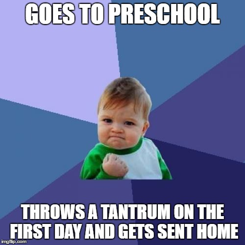 Success Kid Meme | GOES TO PRESCHOOL THROWS A TANTRUM ON THE FIRST DAY AND GETS SENT HOME | image tagged in memes,success kid | made w/ Imgflip meme maker