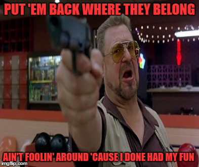 PUT 'EM BACK WHERE THEY BELONG AIN'T FOOLIN' AROUND 'CAUSE I DONE HAD MY FUN | made w/ Imgflip meme maker