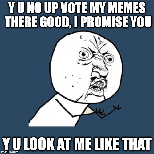 Y U No Meme | Y U NO UP VOTE MY MEMES THERE GOOD, I PROMISE YOU Y U LOOK AT ME LIKE THAT | image tagged in memes,y u no | made w/ Imgflip meme maker