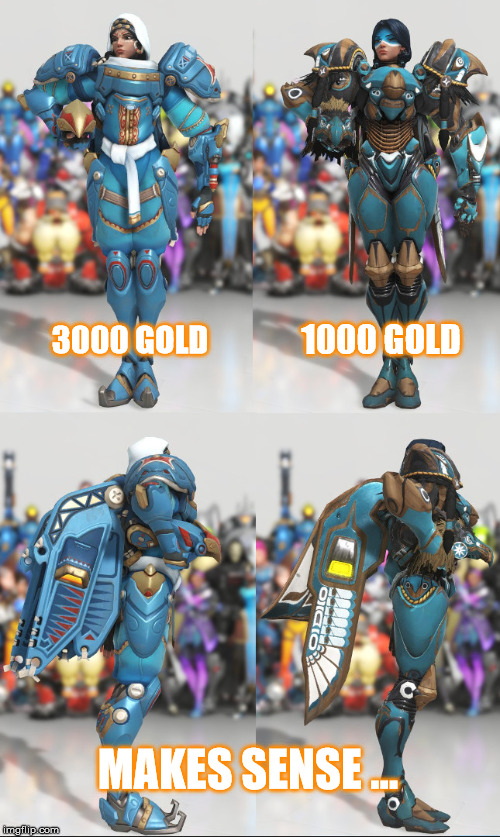 Overwatch? You mean over priced. | 3000 GOLD 1000 GOLD MAKES SENSE ... | image tagged in overwatch,overwatch memes,overwatch skins,overwatch pharah | made w/ Imgflip meme maker