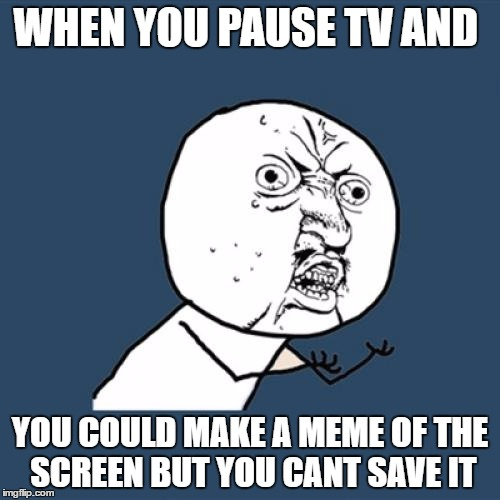 Y U No Meme | WHEN YOU PAUSE TV AND YOU COULD MAKE A MEME OF THE SCREEN BUT YOU CANT SAVE IT | image tagged in memes,y u no | made w/ Imgflip meme maker