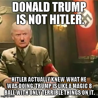 Donald Trump Hitler |  DONALD TRUMP IS NOT HITLER. HITLER ACTUALLY KNEW WHAT HE WAS DOING. TRUMP IS LIKE A MAGIC 8 BALL WITH ONLY TERRIBLE THINGS ON IT. | image tagged in donald trump hitler | made w/ Imgflip meme maker