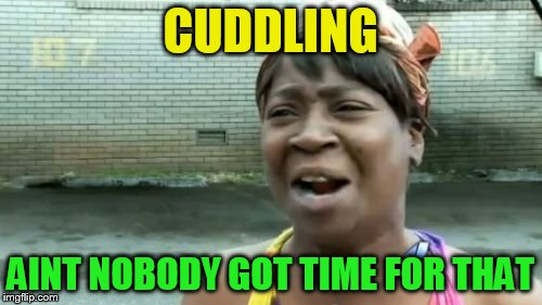 Aint Nobody Got Time For That Meme | CUDDLING AINT NOBODY GOT TIME FOR THAT | image tagged in memes,aint nobody got time for that | made w/ Imgflip meme maker