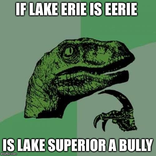 Philosoraptor Meme | IF LAKE ERIE IS EERIE IS LAKE SUPERIOR A BULLY | image tagged in memes,philosoraptor | made w/ Imgflip meme maker