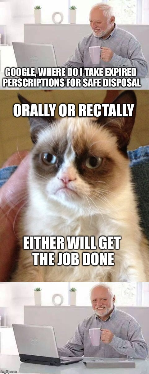 Don't ask Google if you really don't want to know | GOOGLE, WHERE DO I TAKE EXPIRED PERSCRIPTIONS FOR SAFE DISPOSAL ORALLY OR RECTALLY EITHER WILL GET THE JOB DONE | image tagged in memes,hide the pain harold,grumpy cat | made w/ Imgflip meme maker
