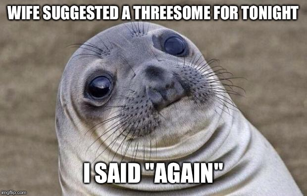 "Awkward Moment Sealion Meme | WIFE SUGGESTED A THREESOME FOR TONIGHT I SAID ""AGAIN"" 
