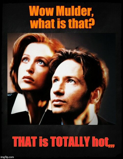Mulder and Scully gaze to whatever,,, | Wow Mulder, what is that? THAT is TOTALLY hot,,, | image tagged in mulder and scully gaze to whatever | made w/ Imgflip meme maker