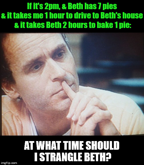 Word Problem Bundy: | If it's 2pm, & Beth has 7 pies AT WHAT TIME SHOULD I STRANGLE BETH? & it takes me 1 hour to drive to Beth's house & it takes Beth 2 hours to | image tagged in word problem bundy,ted bundy,funny,memes,funny memes,school | made w/ Imgflip meme maker