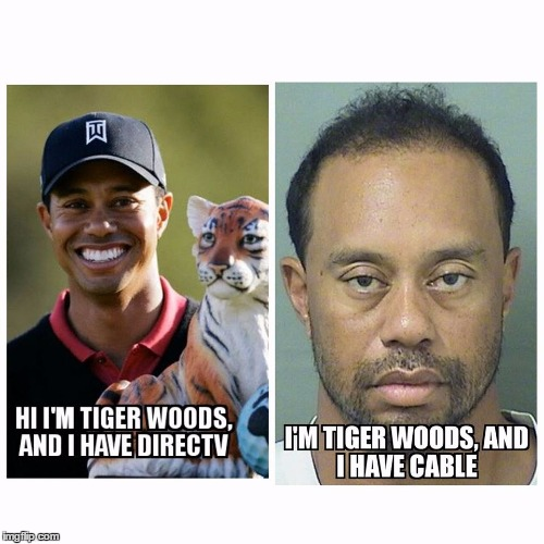 Direc-Tv vs Cable | image tagged in tiger woods,direc-tv vs cable,confession tiger,tiger | made w/ Imgflip meme maker