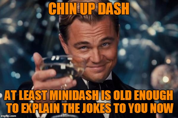 Leonardo Dicaprio Cheers Meme | CHIN UP DASH AT LEAST MINIDASH IS OLD ENOUGH TO EXPLAIN THE JOKES TO YOU NOW | image tagged in memes,leonardo dicaprio cheers | made w/ Imgflip meme maker