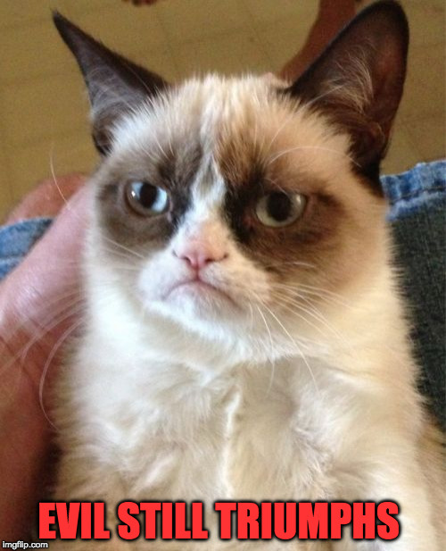 Grumpy Cat Meme | EVIL STILL TRIUMPHS | image tagged in memes,grumpy cat | made w/ Imgflip meme maker