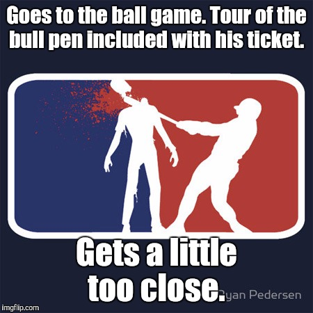 13dvwz.jpg | Goes to the ball game. Tour of the bull pen included with his ticket. Gets a little too close. | image tagged in 13dvwzjpg | made w/ Imgflip meme maker