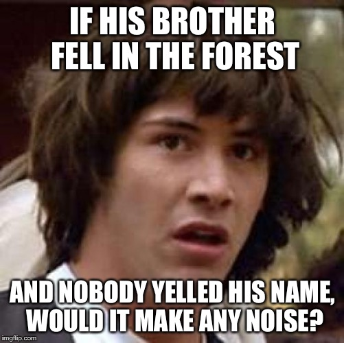 Conspiracy Keanu Meme | IF HIS BROTHER FELL IN THE FOREST AND NOBODY YELLED HIS NAME, WOULD IT MAKE ANY NOISE? | image tagged in memes,conspiracy keanu | made w/ Imgflip meme maker