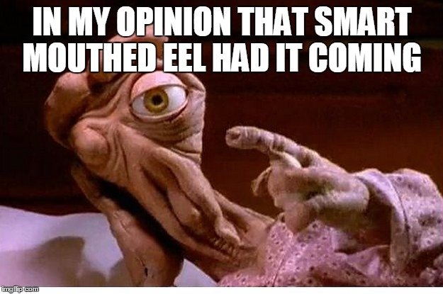 IN MY OPINION THAT SMART MOUTHED EEL HAD IT COMING | image tagged in alien bl4h | made w/ Imgflip meme maker